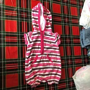 Baby girls pink terry cloth beach cover up